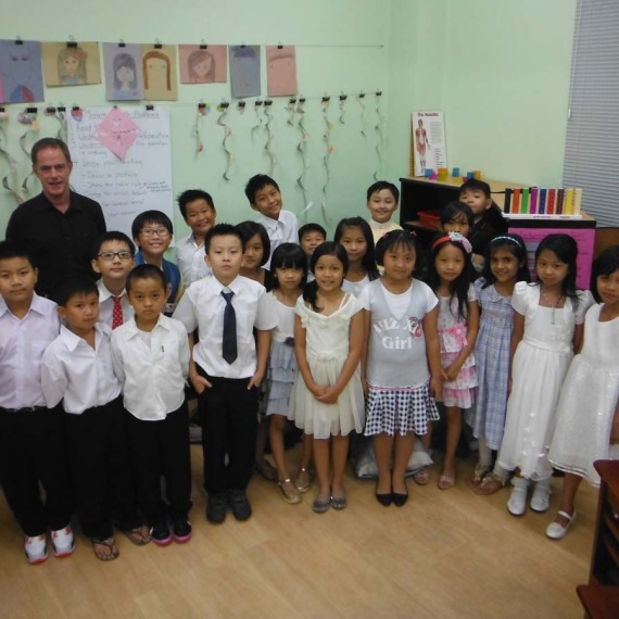 Jim's third grade class at International School Myanmar